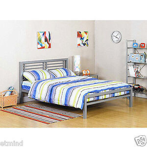 New your zone platform bed frame metal kids teen furniture for Furniture zone beds