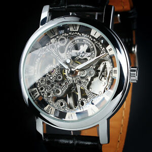 New Man's Skeleton Hand-Winding Swiss Design Mechanical Men's Wrist Watch
