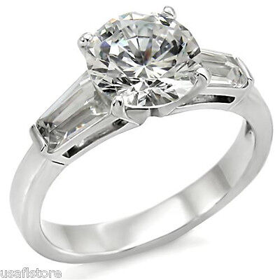 8 Mm Round Cut Clear Cz Silver Stainless Steel Ladies Ring