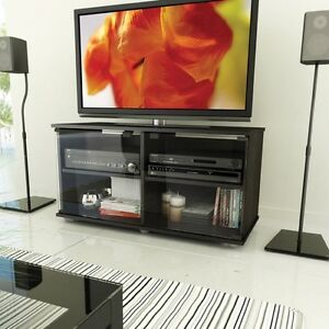 black tv stand flat screen 40 inch television entertainment center new dlp 52 67 ebay. Black Bedroom Furniture Sets. Home Design Ideas