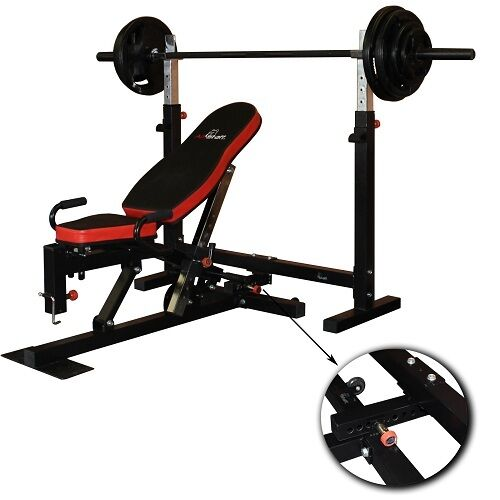 Flat incline decline weight press bench squat rack ebay - Weight bench incline decline ...