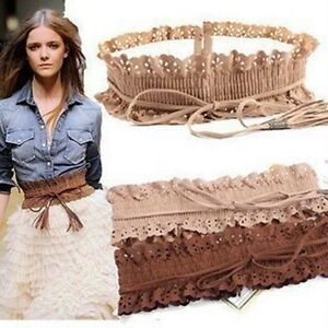Women-Hollow-Out-Flower-Elastic-Tassel-Wide-Belt-Kummerbund-3-Colors-F351