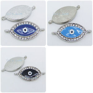 Side-Ways-Silver-Crystal-Rhinestones-Bracelet-Evil-Eye-Connector-Charms-Beads-C3