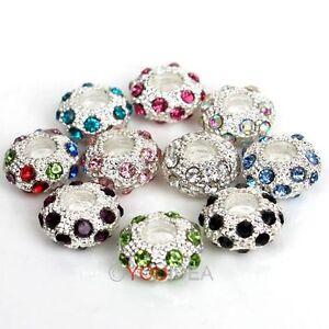 5Pcs-Silver-Plated-Crystal-Rhinestone-European-Spacer-Bead-Fit-Charm-Bracelet