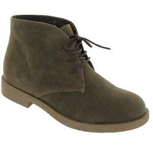 LADIES LEATHER DESERT BOOTS WOMENS GIRLS LACE UP ANKLE BIKER CLASSIC SHOES SIZE