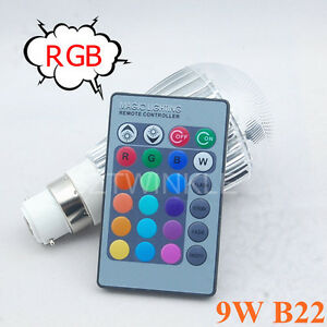 9W B22 Multi Color Changing RGB LED Light Bulb Lamp 85-265V+IR Remote Control