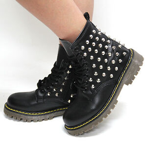 Perfect Womens Black Silver Studded Combat Boots Military Biker Shoes Raven06