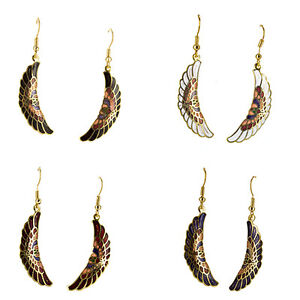 Cloisonne-Feather-Shaped-Earrings-Hand-Crafted-w-Hypoallergenic-Backings