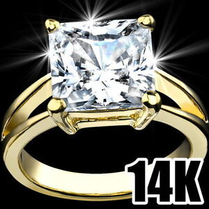 14K-YELLOW-GOLD-PLATED-5-CT-PRINCESS-CUT-SOLITAIRE-CUBIC-ZIRCONIA-CZ-RING-SZ-9