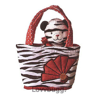 "Lovvbugg White Tiger in Striped Carrier Bag for 18"" American Girl Doll Accessory"