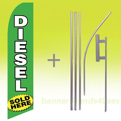 Diesel Sold Here Swooper Flag Kit Feather Flutter Banner Sign 15 Tall - Gb