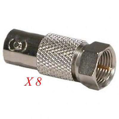 Bnc Female To F (tv) Male Adapter. Makes Bnc Cable To Tv Antena Cable Lot 8 Pcs.