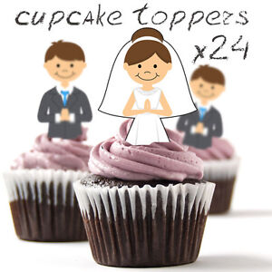 ❤ 24 STAND UP Edible Cup Cake Toppers | Bride and Groom Wedding ❤