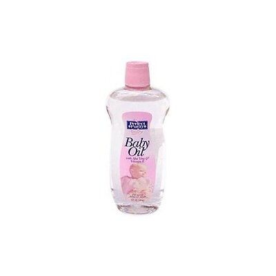 Baby Oil With Vitamin E - Perfect Purity, 12 Oz (3 Pack) + Makeup Sponge