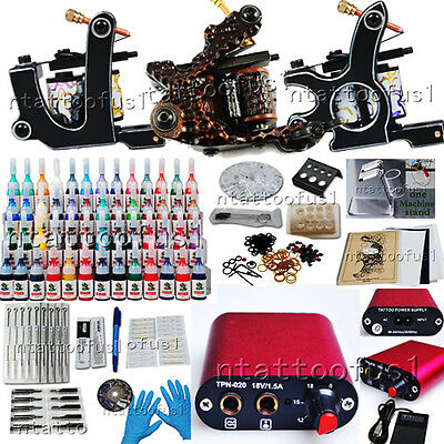 Tattoo Kit 3 Machines 54 Color Ink Power Needle MGT26 USA Storage Free 1 OZ INK on Rummage