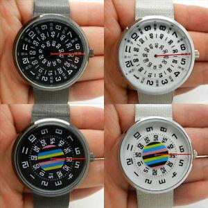 Black-Silver-Quartz-Wrist-Watch-Boy-Girl-Lady-Womens-Mens-Turntable-Dial-Digital