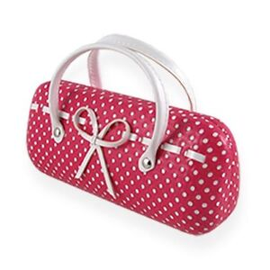 AS12TG Small Dot w/ Bow Womens Handbag Hard Eyeglass Case