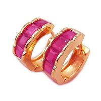 Charming 9K Rose Gold Filled Ruby Huggies Hoop Earrings