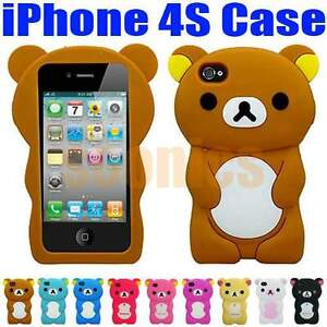 3D Lovely Teddy Bear Soft Silicone Back Hard Cover Case Skin For iPhone 4 4G 4S