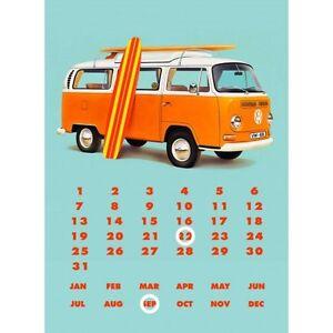 1968 vw bulli westfalia surfer camper bus metall kalender dauerkalender ebay. Black Bedroom Furniture Sets. Home Design Ideas