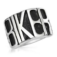CLASSIC BIKER RING  WITH BIKER SPELLED OUT IN STAINLESS STEEL