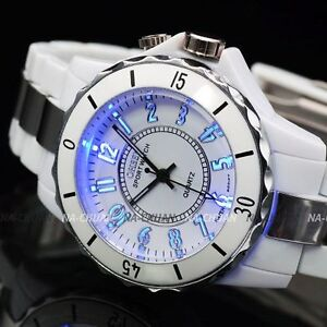 OHSEN 7 Colour LED Light White Lady Sport Quartz Watch