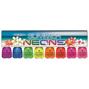 SUMMER NEONS Collection 8 Colors Set CHINA GLAZE Nail Polish