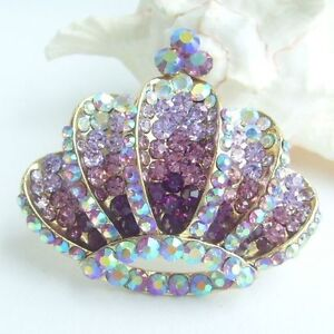 Gorgeous Crown Brooch Pin w Purple Rhinestone Crystals EE08654C2