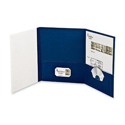 Oxford Your Style Custom Tri Folio Presentation Folder Navy Blue 12 Count 50677