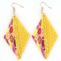 Flower Fimo Beads Rhombus Charms Dangle Earrings