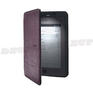 For Amazon Kindle Touch Lighted Slim Leather Cover Built-in-LED Light Purple