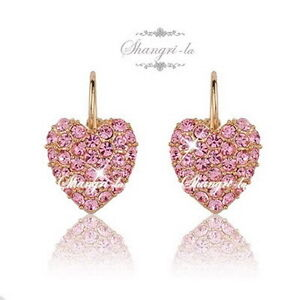 18K 18CT GOLD GP Pink HEART Hoop EARRINGS Genuine SWAROVSKI CRYSTAL X3507