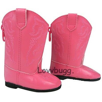 "Lovvbugg Hot Pink Cowboy Boots for 18"" American Girl or Bitty Baby Doll Shoes"
