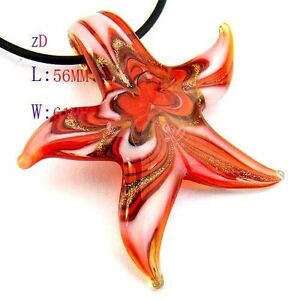 Murano Lampwork Glass Starfish Pendant Necklace