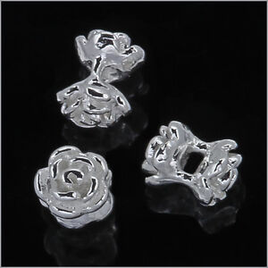 4-Sterling-Silver-Flower-Rose-Beads-Spacer-4mm-97058