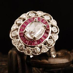 Antique Genuine 2.0CT Diamond/Ruby Solid 18K Yellow Gold Vintage Ring Estate