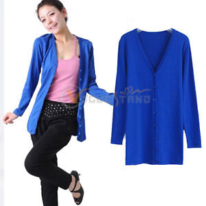 Women's Casual Cotton Long Sleeve Cardigan Top Coat Jacket Outwear 10 Colors V30