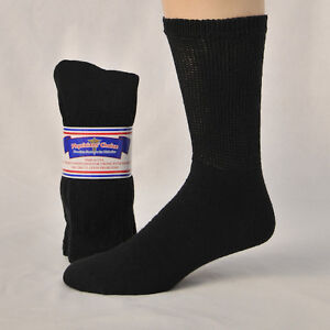 3, 6 or 12 Pair Men's Diabetic Cushioned Crew Socks Sizes 9-11, 10-13, 13-15
