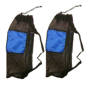 2-PACK-Mesh-Drawstring-Snorkel-Bag-with-Blue-Zip-Pocket