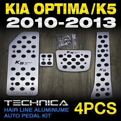 Hair Line Aluminume Auto Foot Pedals Set 4pcs Fit 2010 - 2013 KIA OPTIMA / K5