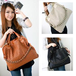 New-Fashion-Korean-Weaved-Style-Lady-Hobo-PU-Leather-Handbag-Shoulder-Bag-Q046