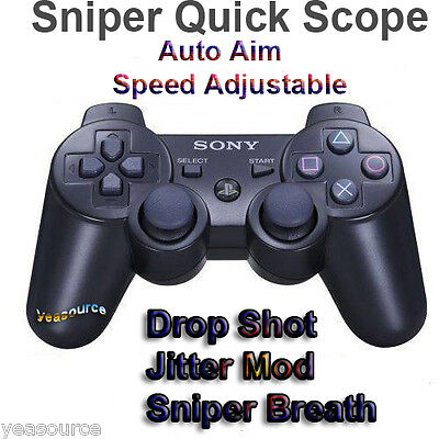 New Sony PS3 FPS Modded Rapid Fire Controller Quick Scope Jitter Mode COD Game