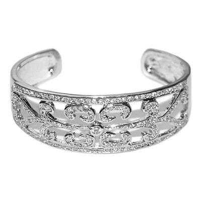 Bridal Pave Vintage Cubic Zircon Filigree Bangle Cuff Bracelet-1 Size-adjustable