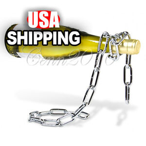 Floating Magic Chain Wine Bottle Holder Alcohol Champagne Illusion Rack Stand