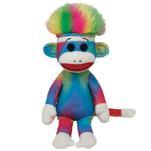 TY SOCK MONKEY Plush Stuffed Monkey Beanie Baby 40963 RAINBOW SOCK MONKEY
