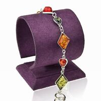 Tibet Silver Chain Amber Teardrop Square Bangle Bracelet--new!
