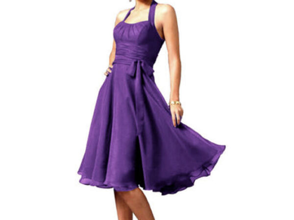 Cheap! 10-12 Halter Graduation Bridesmaid Party Evening Gown Prom Cocktail Ball Knee Length Dress County Armagh Picture 3
