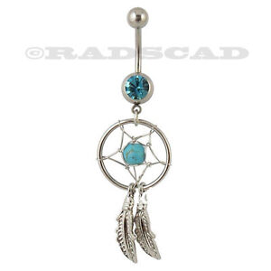 DREAM CATCHER DANGLE NAVEL RING BELLY BAR CRYSTAL STAINLESS STEEL 14G BARBELL