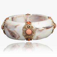 Lucite Vintage Chunky Cream Floral Design Gem Crystal Bracelet