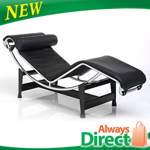 Replica Black Le Corbusier Chaise Lounge Chair Premium Italian Leather